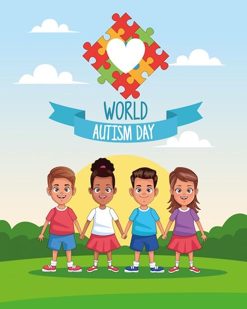Dia mundial do autismo crianças com quebra-cabeça coração no projeto de ilustração vetorial paisagem Vetor Premium