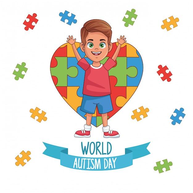 Dia mundial do autismo menino com quebra-cabeça coração vector design ilustração Vetor Premium