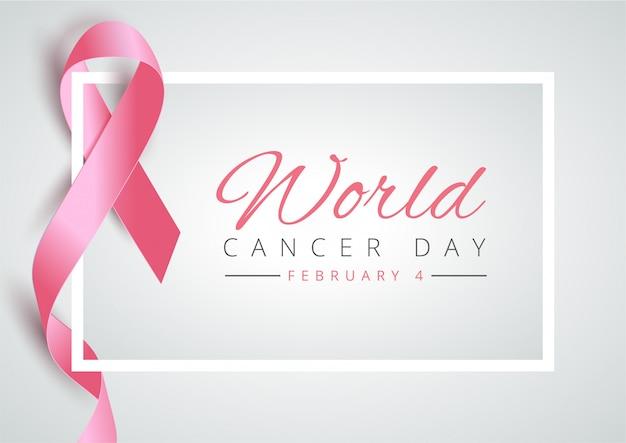 Dia mundial do câncer com fita rosa Vetor Premium