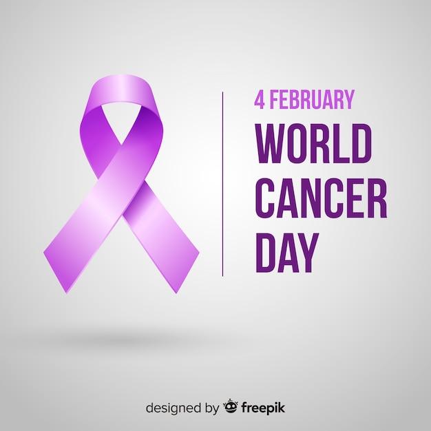 Dia mundial do câncer em design realista Vetor grátis