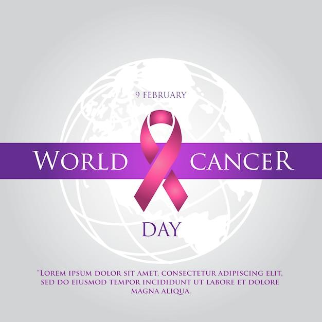 Dia mundial do câncer simples fundo elegante Vetor Premium