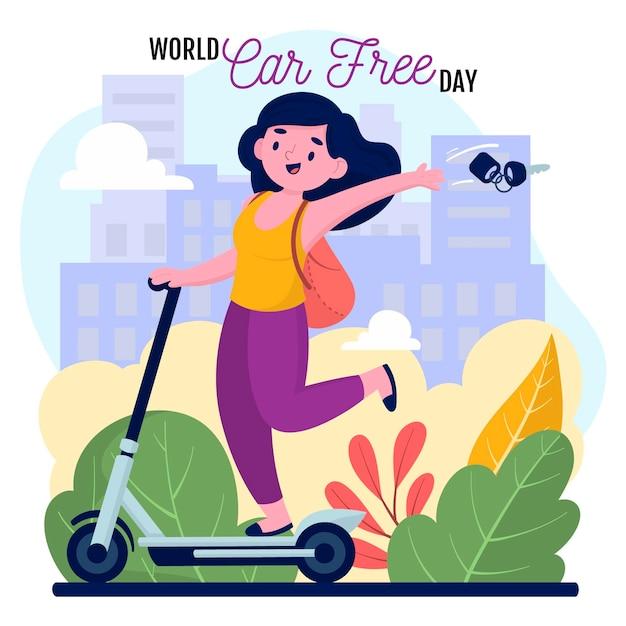 Dia mundial do carro desenhado à mão livre Vetor grátis