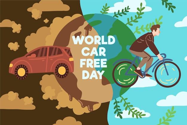 Dia mundial do carro desenhado à mão livre Vetor Premium