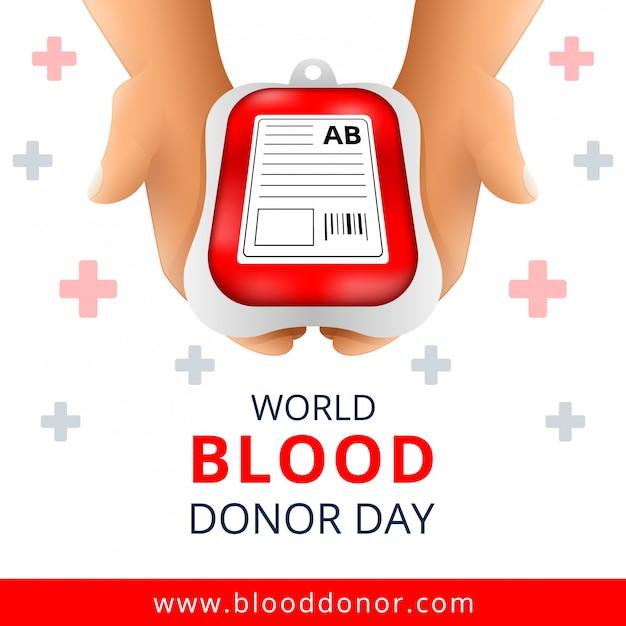 Dia mundial do dador de sangue Vetor Premium