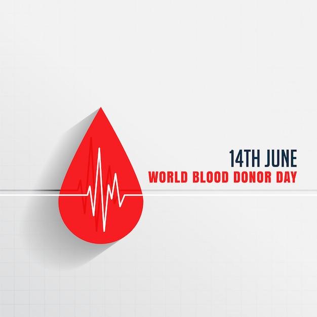 Dia mundial do doador de sangue com gota de sangue e batimentos cardíacos Vetor grátis