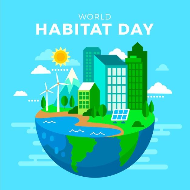 Dia mundial do habitat em design plano Vetor grátis