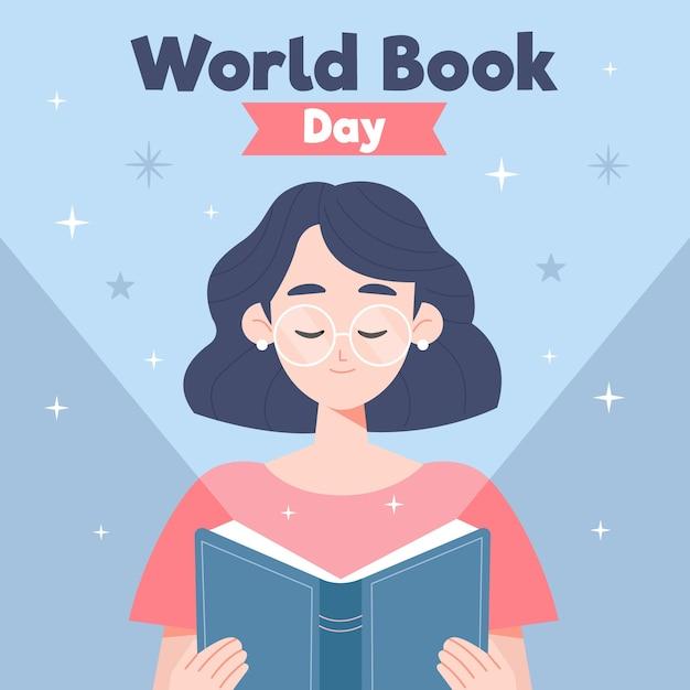 Dia mundial do livro design plano Vetor grátis