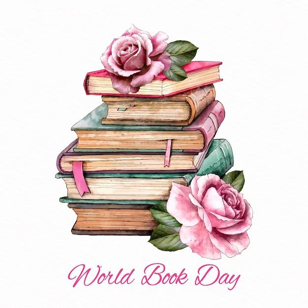 Dia mundial do livro em aquarela Vetor grátis