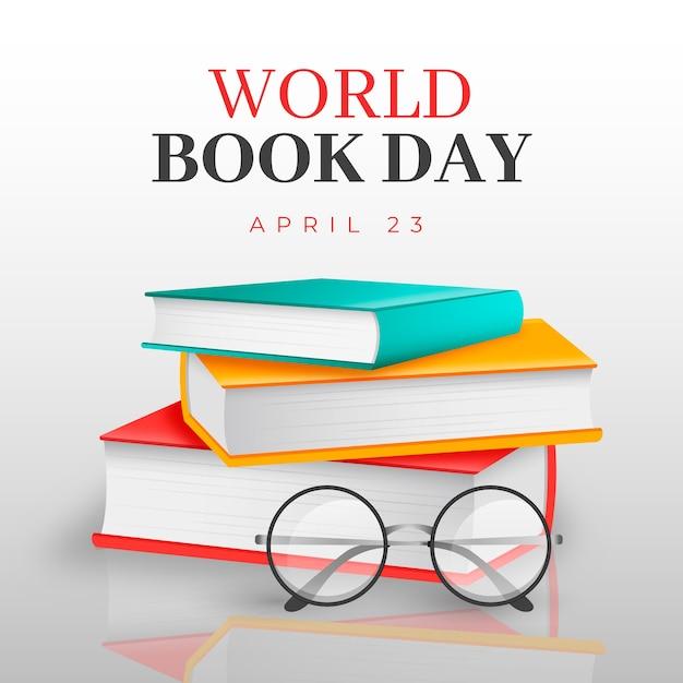 Dia mundial do livro em estilo realista Vetor Premium
