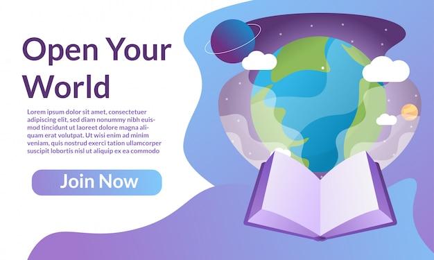 Dia mundial do livro para a página de destino Vetor Premium