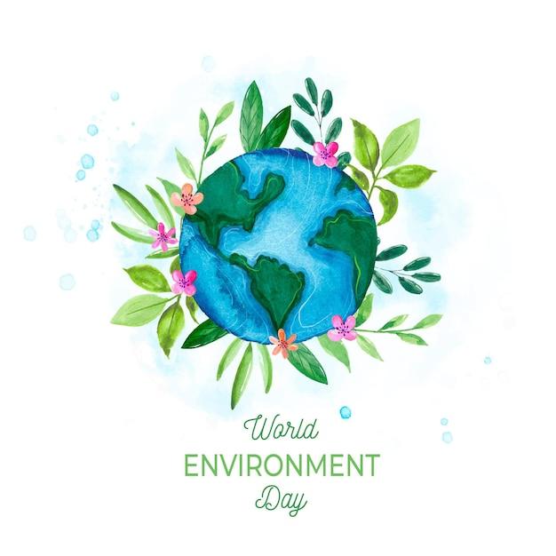 Dia mundial do meio ambiente aquarela Vetor grátis