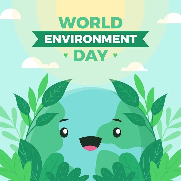 Dia mundial do meio ambiente com bonito planeta Vetor grátis