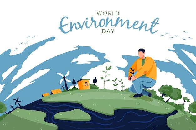 Dia mundial do meio ambiente com o homem na natureza Vetor grátis