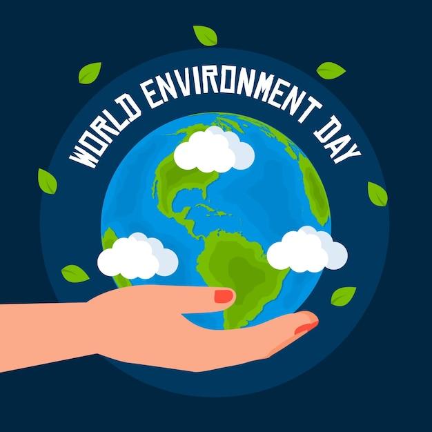 Dia mundial do meio ambiente com planeta e mão Vetor grátis
