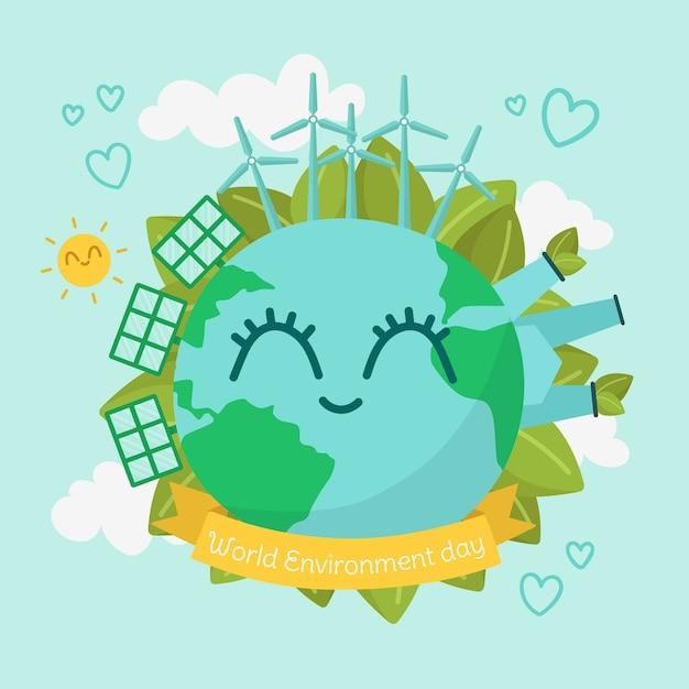 Dia mundial do meio ambiente de design plano Vetor grátis