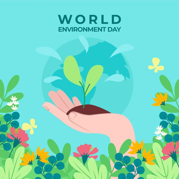 Dia mundial do meio ambiente de mudas Vetor grátis