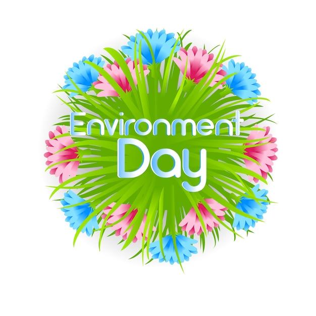 Dia mundial do meio ambiente decoração flor Vetor Premium
