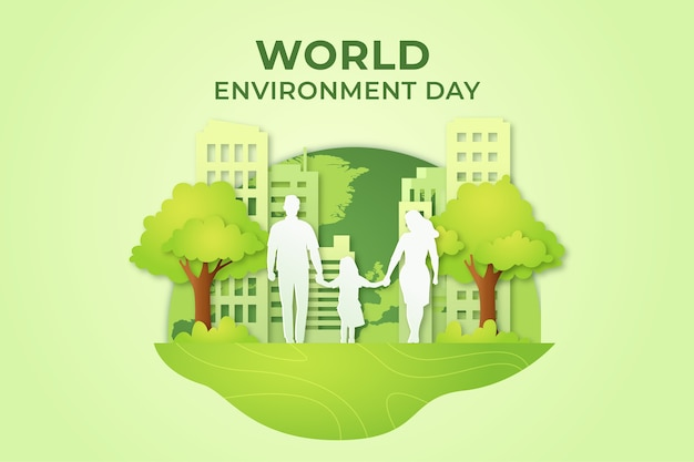 Dia mundial do meio ambiente em estilo de jornal Vetor grátis