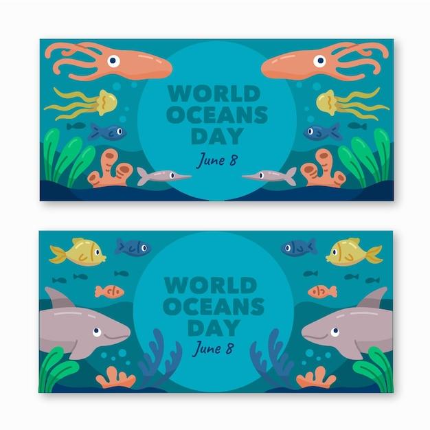 Dia mundial do oceano banners modelo desenhado Vetor grátis