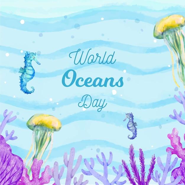 Dia mundial do oceano de vida subaquática em aquarela Vetor grátis