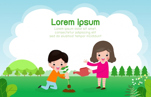 Dia mundial do ozono, as crianças adoram a terra e cuidar do meio ambiente, salvar o planeta, salvar o mundo, ilustração em vetor conceito ecologia Vetor Premium