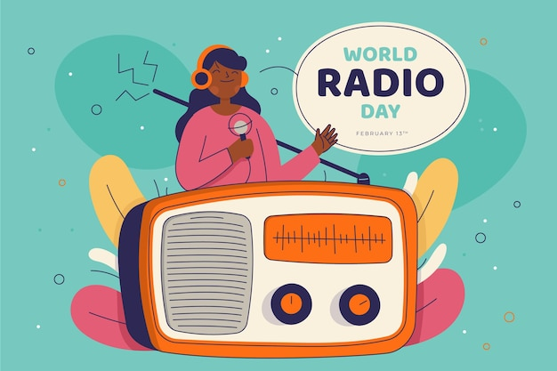 Dia mundial do rádio desenhado à mão plana Vetor grátis