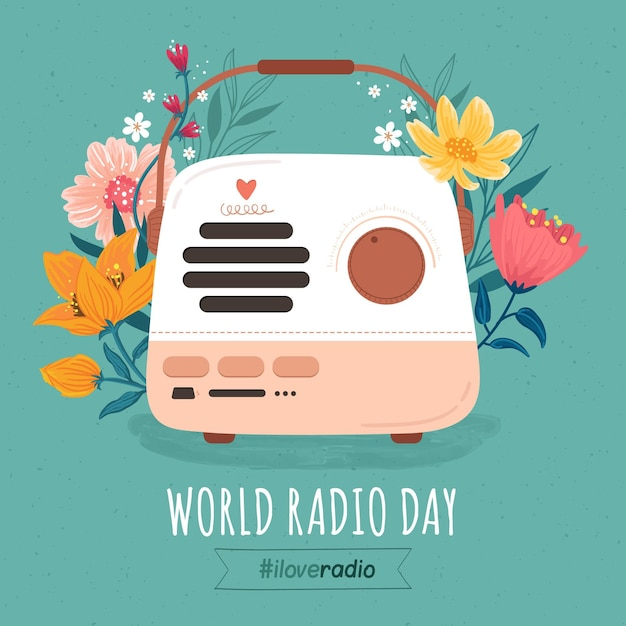 Dia mundial do rádio desenhado à mão Vetor grátis