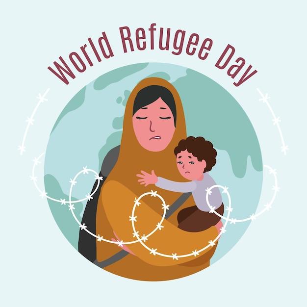 Dia mundial do refugiado de mão desenhada Vetor grátis