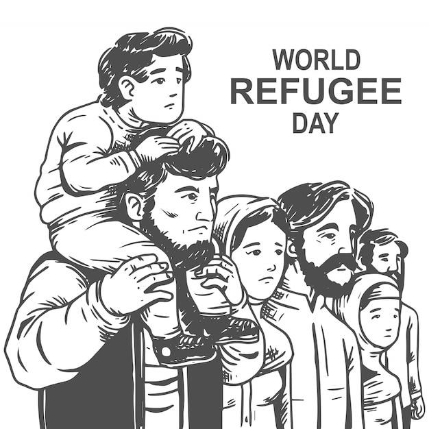 Dia mundial do refugiado desenhado à mão com pai e filho vetor grátis Vetor Premium
