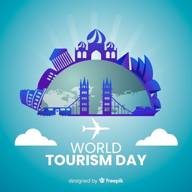 Dia mundial do turismo com gradiente de marcos Vetor grátis
