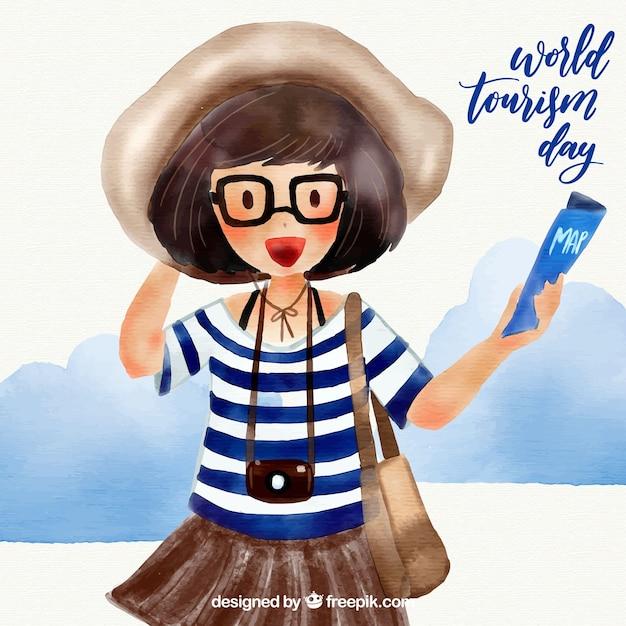 Dia mundial do turismo com viajante aquarela Vetor grátis