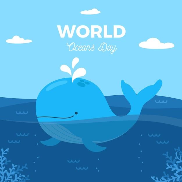 Dia mundial dos oceanos com baleia Vetor grátis