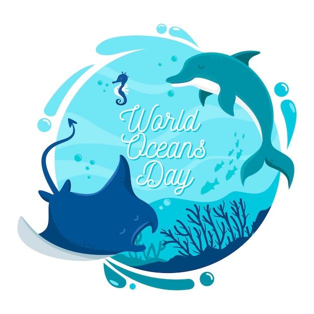 Dia mundial dos oceanos com golfinhos e arraia Vetor grátis