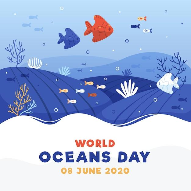 Dia mundial dos oceanos com peixes debaixo d'água Vetor grátis