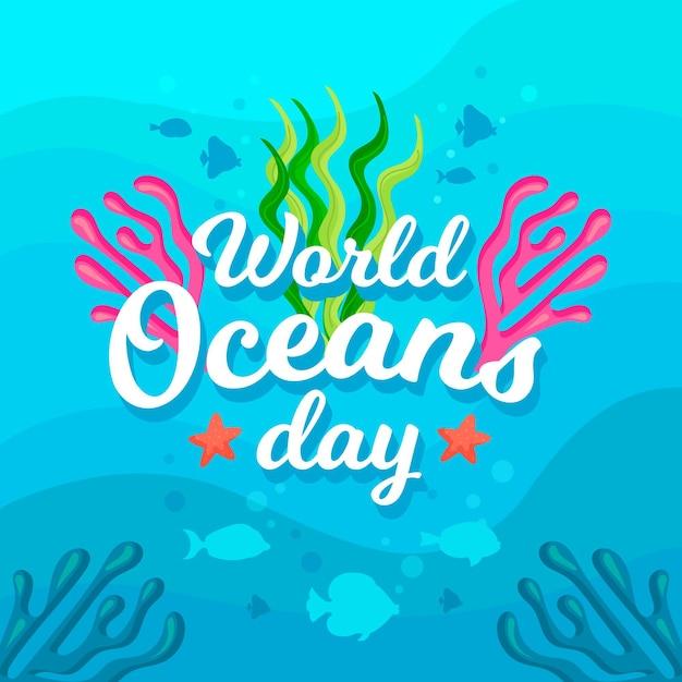 Dia mundial dos oceanos com peixes e algas Vetor grátis