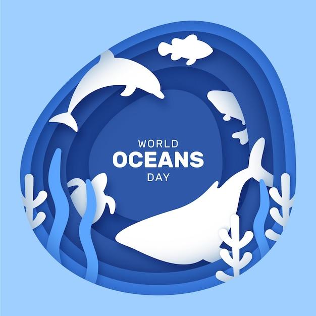 Dia mundial dos oceanos em estilo de jornal Vetor Premium