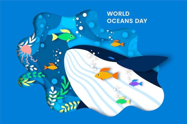 Dia mundial dos oceanos em estilo de jornal Vetor grátis