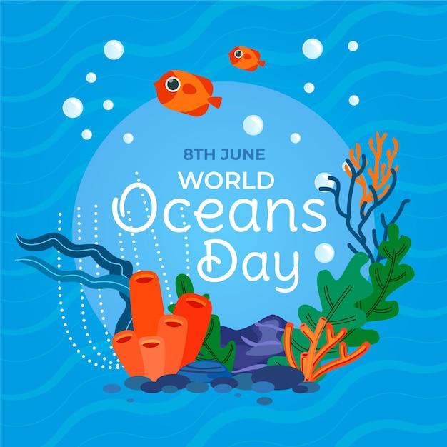 Dia mundial dos oceanos mão desenhada Vetor Premium
