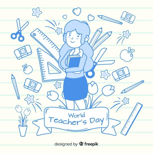 Dia mundial dos professores de design plano Vetor grátis