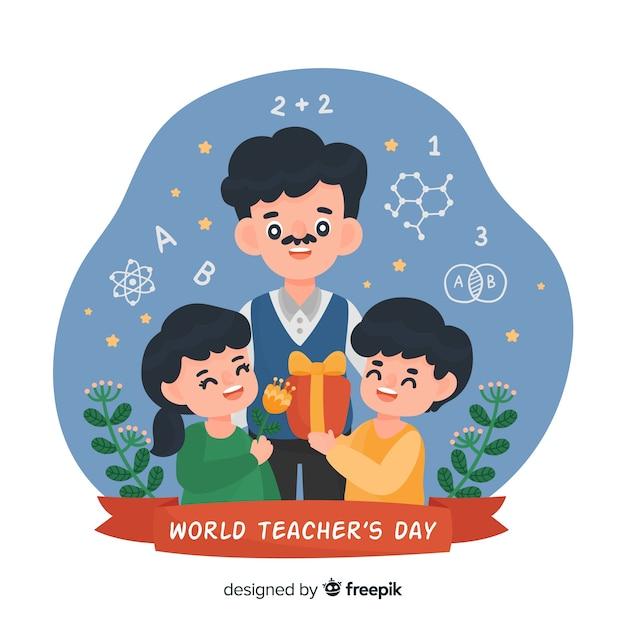 Dia mundial dos professores dos desenhos animados Vetor grátis