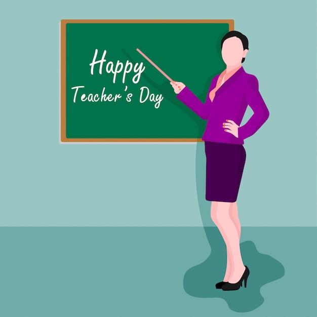 Dia mundial dos professores. ilustração, de, professor feminino Vetor Premium