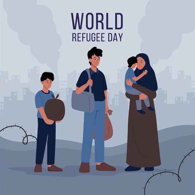Dia mundial dos refugiados com pessoas Vetor grátis