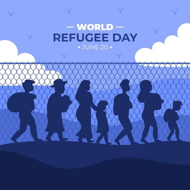 Dia mundial dos refugiados de silhueta Vetor grátis