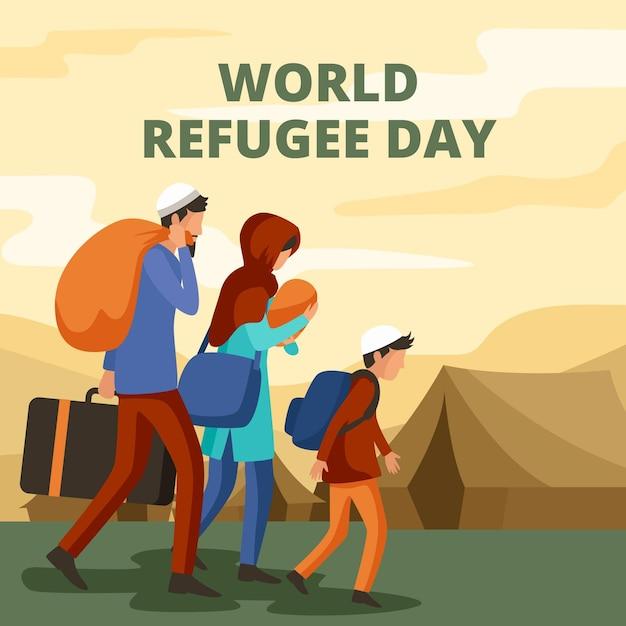 Dia mundial dos refugiados em design plano Vetor grátis