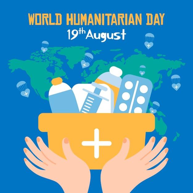 Dia mundial humanitário mão desenhada estilo Vetor grátis