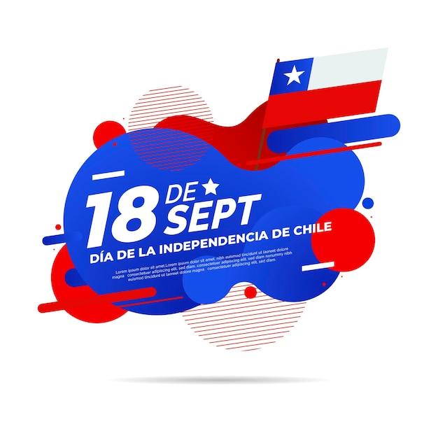Dia nacional do efeito líquido do chile e bandeira Vetor grátis