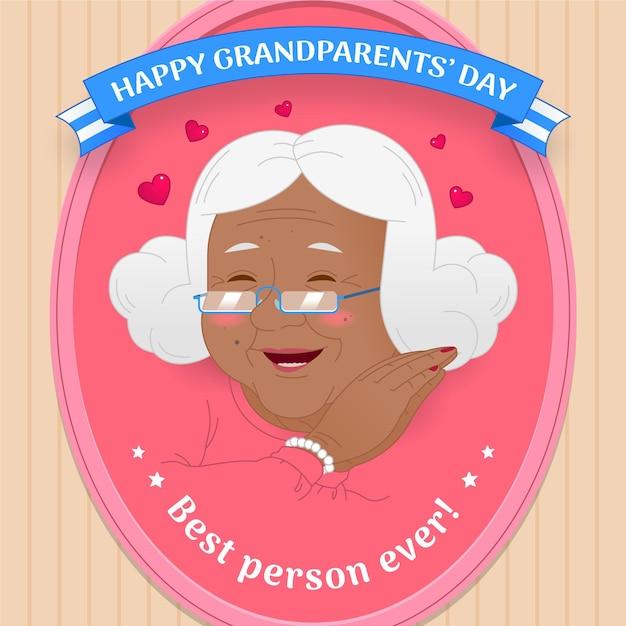 Dia nacional dos avós com a avó Vetor grátis