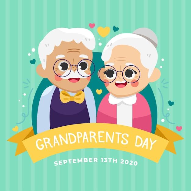 Dia nacional dos avós com casal de idosos Vetor grátis
