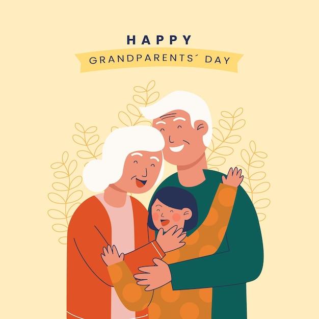 Dia nacional dos avós com neto Vetor grátis