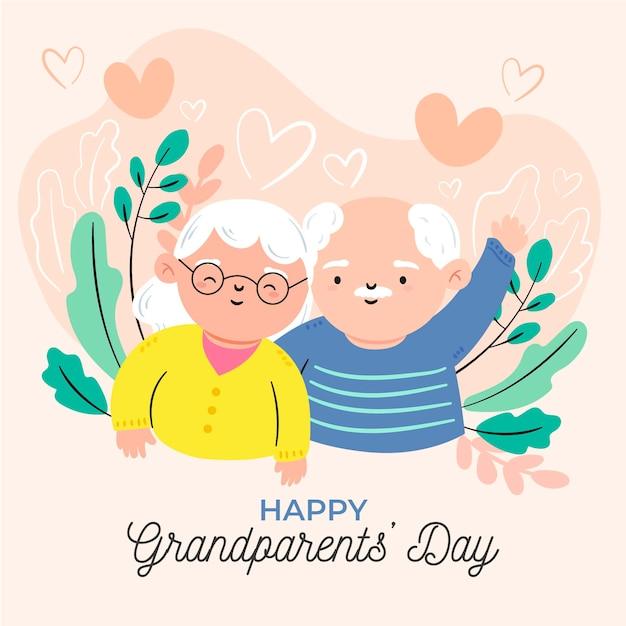 Dia nacional dos avós desenhados à mão Vetor grátis